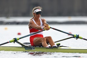 Rower Carling Zeeman of Canada in action at the Tokyo 2020 Olympics in the women's single sculls B final at Sea Forest Waterway, Tokyo, Japan on July 30, 2021.