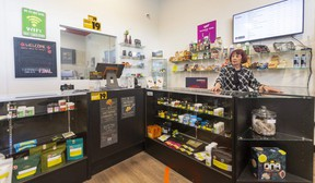Marga Vertolli, owner of Lux Smoke Cannabis in London, said there are more cannabis shops in London than the market requires. She believes the provincial government should cap the number of stores. (Mike Hensen/The London Free Press)