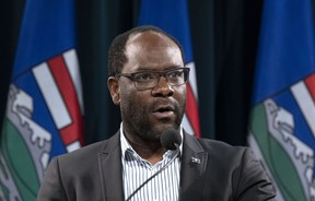 Kaycee Madu, Minister of Justice and Solicitor General speaks to media at a press conference in Calgary. Madu is asking the federal government to amend the Criminal Code to allow people to carry and use pepper spray in self-defence.