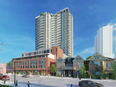 A rendering showing a 24-storey apartment building planned by Medallion Corp. in Old East Village. The developer plans to build 243 units, including some affordable, near Dundas and Hewitt streets on the corner of a block where it's already built three residential towers.