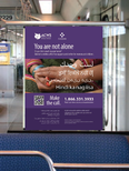 A mock-up of the Light Rail Transit campaign poster inside of a train. Photo credit Pattison Media