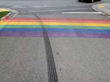 Charges have been laid in connection with the defacing of a Pride symbol in downtown Gananoque hours after being  painted on Friday. Submitted photo/The Recorder and Times