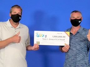 Hensall friends Jason Clarke, left, and Michael Hoffman are celebrating their recent $1-million Lotto Max win. OLG photo