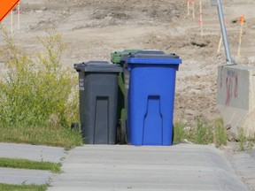 Around a quarter of the town's blue bins were tagged as containing non-recyclable material during a town-wide check last fall. Patrick Gibson/Cochrane Times