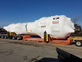 The first made-in-Ontario steam generator, built by United Steel Workers at BWXT's Cambridge plant, for Bruce Power's Unit 6 major component replacement project was shipped to the Tiverton-area nuclear generator on Aug. 27. BEN CLARK