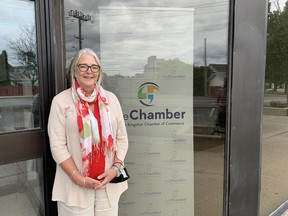 Karen Cross, CEO for the Greater Kingston Chamber of Commerce, pictured outside the chamber offices on Tue,, June 22, is calling on the provincial government to provide more clarity to businesses regarding the provincial reopening. Brigid Goulem/The Kingston Whig-Standard/Postmedia Network