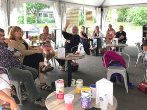 A comfortable crowd of people in the arts assembled at the inaugural Meet and Greet held by the Gananoque Arts Network (GAN) at the Thousand Islands Playhouse on July 29.  Supplied by Gananoque Arts Network