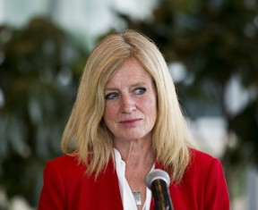 Rachel Notley comments on the proposed equalization referendum on Wednesday, June 9, 2021 in Edmonton.  Notley is calling on the province to quickly address a rise in hospital staffing shortages resulting in emergency department closures.
