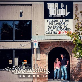Alana Lichti and Louis Kosmerly Jr., out side of Bar Down downtown Kincardine. SUBMITTED
