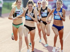 Pembroke native Madeleine Kelly (8), leads Lindsey Butterworth (4) and Eganville native Melissa Bishop-Nriagu (5) across the finish line to win the Women's 800-metre final at the Canadian Track and Field Championships in Montreal in 2019. All three women will compete in the 800m heats in at the Tokyo Olympics Thursday night.