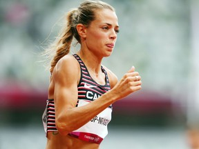 Melissa Bishop-Nriagu of Canada in action during the women's 800-metre heats at the 2020 Tokyo Olympics. She finished fourth in her heat and did not advance.