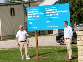 Lambton-Kent-Middlesex MPP Monte McNaughton, right, stopped by the North Middlesex works shed in McGillivray on July 22 to announce $100,000 in COVID-19 Resilience Infrastructure funding toward a renovation project on the building. With McNaughton is North Middlesex Mayor Brian Ropp. Scott Nixon