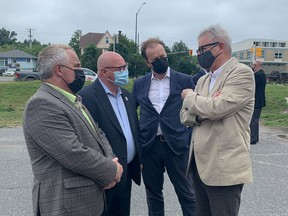 From the left are Nickel Belt MP Marc G. Serré, Mayor Brian Bigger, Sudbury MP Paul Lefebvre, and Adam Vaughan, MP for Spadina-Fort York and Parliamentary Secretary to Ahmed Hussen, the minister responsible for Canada Mortgage and Housing Corporation. They were in Sudbury on Tuesday to announce funding for house. Supplied