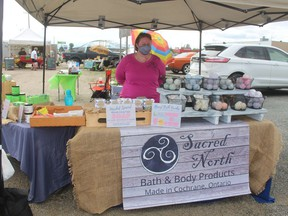 Kyla Bondy-Montgomery of Sacred North Bath and Body Products coordinated the market and said that she was happy with the turn out for the first vendors' sale. .TP.JPG