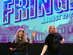 Megan Dart, left, interim executive director, and Murray Utas, artistic director, host a telethon fundraiser for the Edmonton International Fringe Theatre Festival at the Westbury Theatre, in Edmonton. Tickets for this year's festival go on sale Aug. 4, 2021.