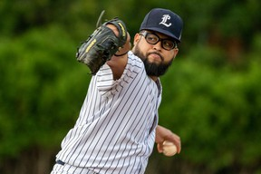 Pedro De Los Santos is part of the London Majors' one-two pitching punch. (photo courtesy of London Majors)