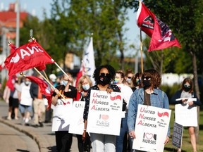 Nurses protest low staffing and government cuts outside of Royal Alexandra Hospital in Edmonton on Aug. 11, 2021. Photo by Ian Kucerak