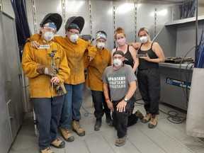 Five women have just completed the 'Women in Trades' exploratory program offered by Cambrian College in Espanola. Shannon Steinke (Massey), Athena Jacko (Birch Island), Eliana Mazey (Nairn), Carly Mullen (Massey), Lewyka Nebenionquit (Whitefish River First Nation). In front is trades instructor, Henry Girard.