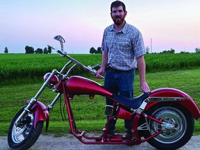 Wellington County cash crop farmer James Ferrier has a hankering to design and build a custom agriculture themed motorcycle. He was sourcing parts for this chopper when he came upon a contest to build a dream chopper. There is only one catch. He has to glean the most votes over the next month in the Orange County Chopper's Dream Chopper Competition and he is asking for your vote