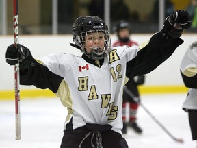 Cody Hale celebrates after teammate Ben Vreugdenhil scored to give the West London Hawks a 3-0 lead over the Oakridge Aeros at Stronach Arena in this LFP Archives photo from Friday, January 6, 2012. DEREK RUTTAN/The London Free Press