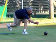 Duncan Smith, 77, took up lawn bowling 21 years ago shortly after retiring and he still enjoys the sport today. The past president  of the Chatham Lawn Bowling Club is seen here playing in Chatham's Tecumseh Park on Wednesday. Ellwood Shreve/Chatham Daily News/Postmedia Network