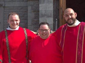 Marc Gaudet, Coonor O'Hara and Kevin Burgess have all been ordained as deacons this month. Handout/Cornwall Standard-Freeholder/Postmedia Network