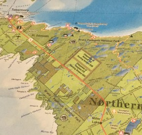 A map that shows the section of Highway 6 from Dyers Bay Road to Tobermory in Northern Bruce Peninsula.