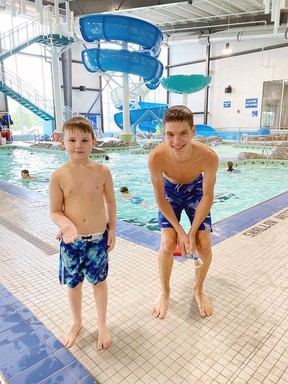 Matthew Toppi lost a tooth while swimming recently at the Joe Mavrinac Community Complex. The Splash and Swim Days Participants spent about 10 minutes looking for the white tooth on the white bottom. Finally Aquatic Staff Member Josiah Molyneaux jumped into action and found it about 10 minutes later. Photo courtesy of the Joe Mavrinac Community Complex.