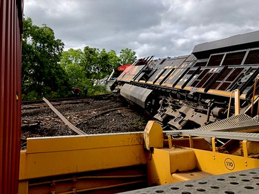 Jessie Freer took this close-up image of the Prescott derailment scene on Thursday. (SUBMITTED PHOTO)