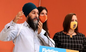 NDP leader Jagmeet Singh made a stop in Greater Sudbury on Sunday at the campaign office of Sudbury candidate Nadia Verrelli and Nickel Belt NDP candidate Andréane Chénier. Gino Donato/The Sudbury Star