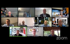 Rod Bilz, lower right, talks to members of North Bay council about the city's strategic plan during a virtual town hall, Monday evening. Screen capture