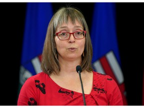 Dr. Deena Hinshaw, Alberta Chief Medical Officer of Health, speaks during a news conference in Edmonton on the COVID-19 pandemic situation in Alberta on Thursday, Sept. 9, 2021. The province has recorded over 1500 new cases in the last 24 hours. PHOTO BY LARRY WONG / Postmedia