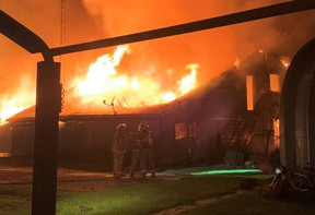 Damage was pegged at $700,000 following a fire on a farm north of Langton in the early morning hours of Wednesday. No injuries were reported. – Norfolk County Fire Department photo