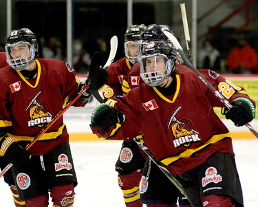 Timmins Rock forward Christopher Engelbert, right, celebrates the first of his two second-period goals during Friday night's 2021-22 NOJHL regular season opener at the McIntyre Arena. It was the first NOJHL goal for Engelbert, acquired by the Rock from the OJHL's Cobourg Cougars on Tuesday. His second of the night was the game winner as the Rock went on to post a 7-3 victory over the visiting Kirkland Lake Gold Miners. THOMAS PERRY/THE DAILY PRESS
