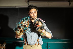 Adam Proulx and his puppets star in How to Hug a Porcupine. CURT O'NEIL PHOTO