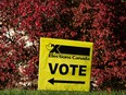 An Elections Canada vote sign is seen at Lister Centre, a residence and an Elections Canada polling station at the University of Alberta, during the 2021 Federal Election in Edmonton, on Monday, Sept. 20, 2021. IAN KUCERAK/Postmedia