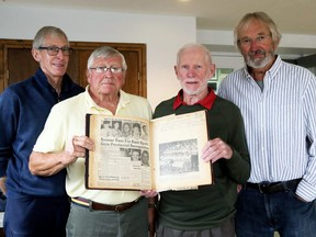 Gary McCuaig, left, Ed Myers, Keith Chandler and Dennis Makowetsky put together a reunion of Chatham Minor Baseball Association provincial championship teams held in Chatham, Ont., on Wednesday, Sept. 22, 2021. Mark Malone/Chatham Daily News/Postmedia Network