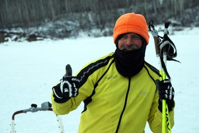 In just under 10 hours, Councillor Phil Meagher gives a thumbs up after skiing 50 kilometres to raise funds for the Centre of Hope in this March 2013 file photo. Meagher raised more than $11,400 to ski 280 kilometres from Fort Chipewyan to the Snye. Vincent McDermott/Fort McMurray Today/Postmedia Network