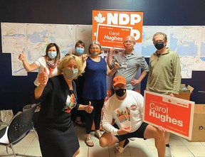 Photo supplied NDP incumbent AMK candidate Carol Hughes (front left) was re-elected and kept her seat. She and her campaign team were at the Hampton Inn as the results were coming in.