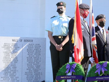 Royal Canadian Legion Branch 564 hosted a dedication ceremony for its expanded cenotaph, which now includes two granite memorial walls in tribute to deceased veterans who were members of the Lockerby Legion, as well as paver stones dedicated to legionnaires, veterans and their loved ones, in Sudbury, Ontario on Saturday, September 18, 2021. Ben Leeson/The Sudbury Star/Postmedia Network