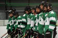 The Lucan Irish line up on the ice before their home opener against Port Stanley, where they walked away with a 4-3 victory. Dan Rolph