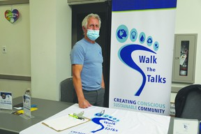 Walk the Talks booth led by an active member of the initiative, Alan Vowles at the Devon Community Awareness Night. KAJAL DHANESHWARI