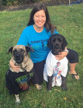 Velika Kitchen-Janzen, chair of the Brantford Terry Fox Run committee, gets ready for run day with her dogs, Revy and Wally.