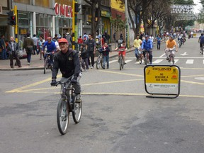 To the delight of pedestrians and cyclists alike, downtown streets in Bogota are closed to motorized traffic every Sunday for CiclovÌa.