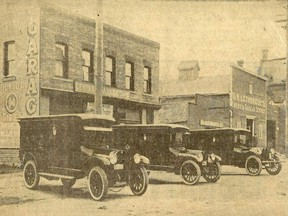 New Studebaker funeral coaches lined up on 4th Street in Chatham, 1915. Photo faces northwest.