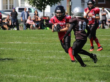 Wildcats' ball carrier Charles Emile Nadeau on a run in Sunday's game. Photo on Sunday, September 12, 2021, in Cornwall, Ont. Todd Hambleton/Cornwall Standard-Freeholder/Postmedia Network