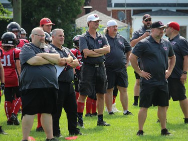 A large group of coaches at the Cornwall Wildcats Mosquito Division team bench for Sunday's contest. Photo on Sunday, September 12, 2021, in Cornwall, Ont. Todd Hambleton/Cornwall Standard-Freeholder/Postmedia Network