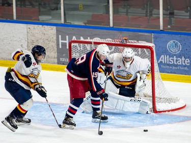 Cornwall Colts Jake Coleman chases the rebound in front of the Hawkesbury Hawks net during exhibition play on Thursday September 9, 2021 in Cornwall, Ont. Cornwall won 4-3 in OT. Robert Lefebvre/Special to the Cornwall Standard-Freeholder/Postmedia Network