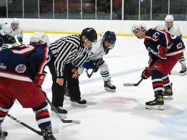 Cornwall Colts Kale MacCormick, right preps for the face-off against Hawkesbury Hawks Bradley Horner during exhibition play on Friday September 17, 2021 in Hawkesbury, Ont. Cornwall won 4-2. Robert Lefebvre/Special to the Cornwall Standard-Freeholder/Postmedia Network
