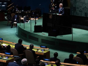 U.S. President Joe Biden addresses the 76th Session of the UN General Assembly on Sept. 21, 2021, in New York.